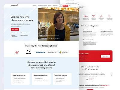 Segmentify software sales dashboard ecommerce red website page landing ux designer ui ux design ui ui design