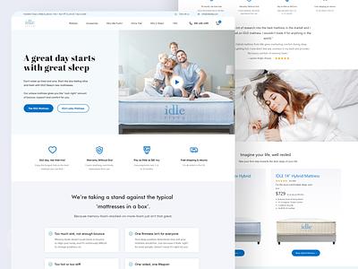 IdleSleep web ui health ui ux typography blue design ui ui design service bed clean home sleep landing redesign website mattress