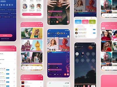 Yeah! Live - Streaming App UI Kit game earning share friend girls video call chat live bigo trendy ios pink app ui designer ui ux design ux ui design ui