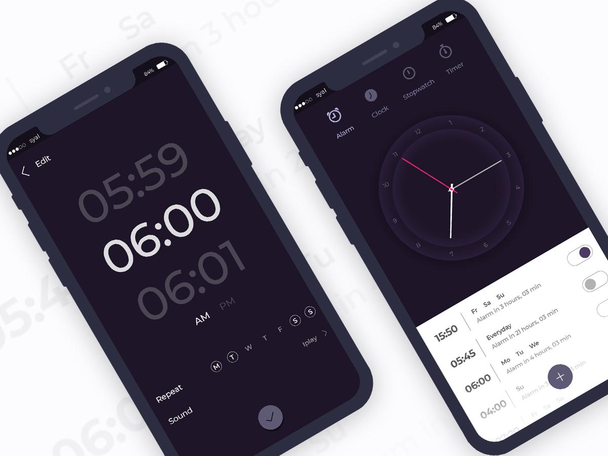 Clock App UI alarm clock timer clock clock app illustration ui ux app ui ui design ux ui