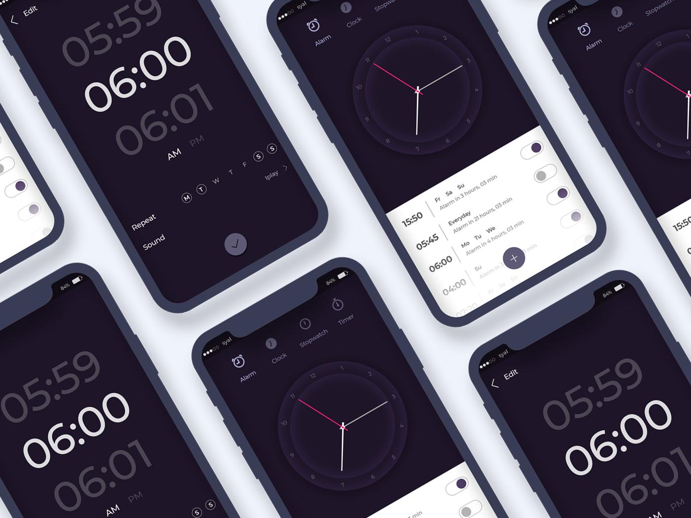 Clock App Ui ui ux ui design app ui ui ux illustration clock app clock timer alarm clock