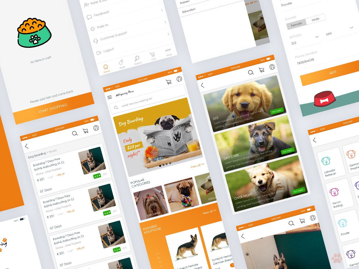 Whispering Paws App UI by Akshay Syal on Dribbble