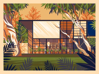 Eames House illustration vintage modern midcentury graphic art photoshop george townley eames house house design california los angeles architecture