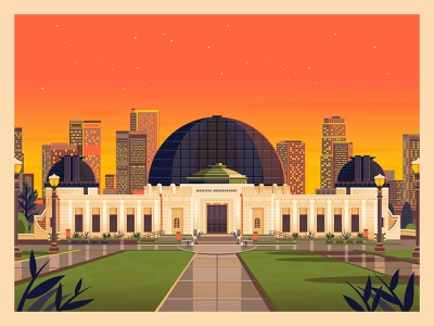 Griffith Observatory modern digital art graphic design sunset graphic art photoshop california illustration architecture george townley los angeles