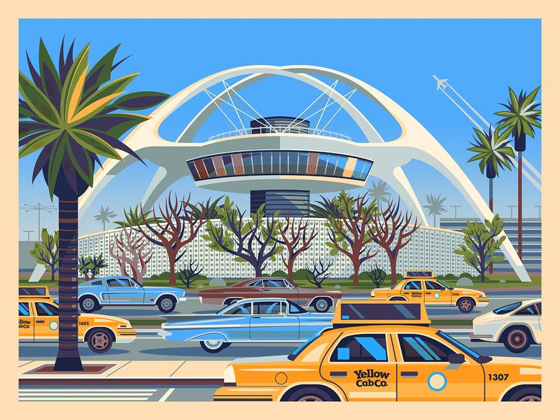 Theme Building graphic design googie modern vintage graphic art sunset photoshop california illustration architecture george townley los angeles
