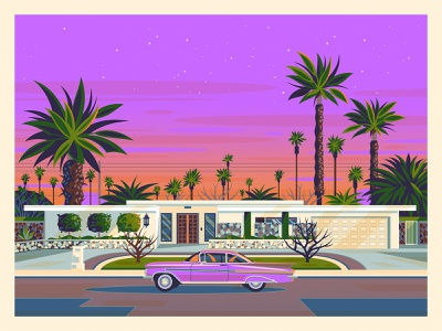 Palm Springs at Dusk midcenturymodern sunset graphic art modern vintage california photoshop graphic design illustration architecture george townley los angeles