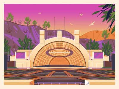 Hollywood Bowl george townley modern graphic art sunset california photoshop graphic design illustration architecture hollywood los angeles hollywood bowl