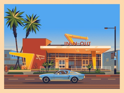 In-N-Out Westwood george townley photoshop vintage graphic art sunset california los angeles graphic design illustration architecture