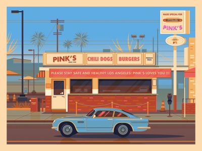 Pink's Hot Dogs modern george townley graphic art sunset california photoshop los angeles graphic design illustration architecture