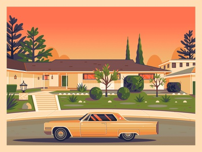 Once Upon a Time in Hollywood george townley modern digital art sunset california photoshop los angeles hollywood graphic design illustration architecture