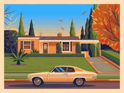 Pulp Fiction modern george townley graphic art sunset california photoshop los angeles graphic design illustration architecture