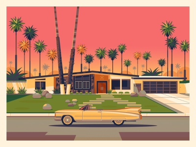 House on Via Vadera digital art george townley house design vintage los angeles photoshop sunset illustration midcenturymodern midcentury architecture california