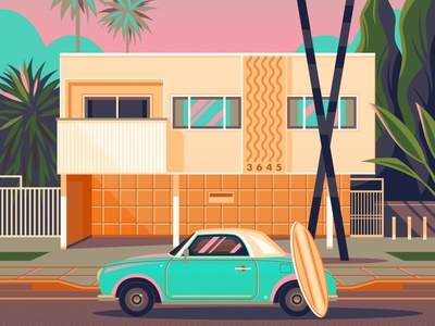 Dingbat House in Mar Vista graphic art george townley vintage sunset california photoshop los angeles graphic design illustration architecture