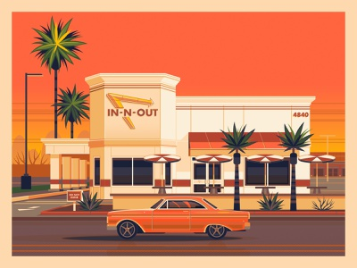 In-N-Out Phoenix arizona phoenix in n out george townley vintage modern digital art graphic art sunset photoshop graphic design illustration architecture