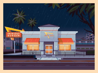 In-N-Out Hollywood graphic art george townley modern in n out sunset california photoshop los angeles graphic design illustration architecture
