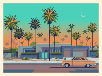 House on Caliente midcentury palm springs george townley modern sunset graphic art california photoshop los angeles graphic design illustration architecture