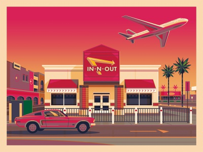 In-N-Out LAX (Sunset) george townley graphic art sunset california photoshop los angeles graphic design illustration architecture in n out burger innout in n out