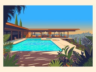 Stahl House sunset vintage midcenturymodern midcentury modern george townley illustration photoshop california los angeles architecture stahl house