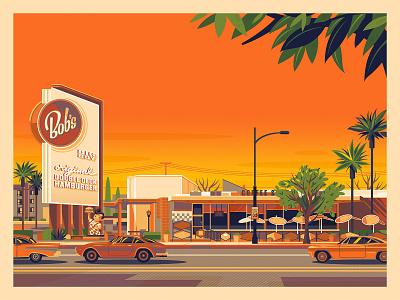 Bob's Big Boy vintage graphic design sunset photoshop illustration modern george townley california los angeles architecture burbank