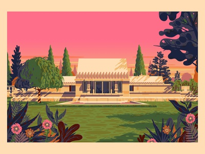 Hollyhock House modern vintage graphic design george townley sunset los angeles california photoshop illustration architecture hollywood