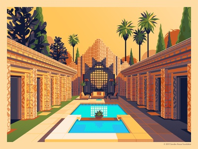 John Sowden House house design frank lloyd wright graphic design photoshop sunset california los angeles george townley illustration architecture