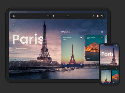 In Flight Entertainment System paris dark mobile app flight travel clean ui