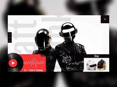 Daft Punk Web Concept layout website web clean ui punk daft landing mondrianism minimal music design
