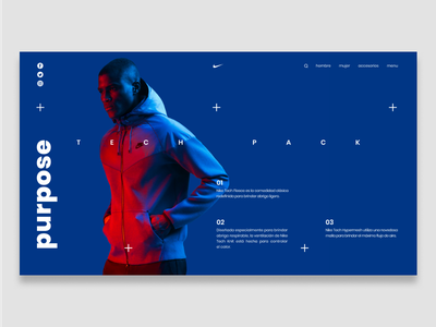 Nike Tech 01 layout colorful color bright art direction nike sport clean website ux ui landing