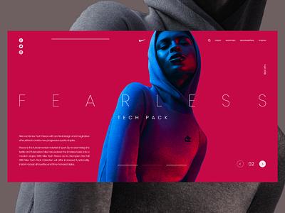 Nike Tech 02 art direction web girl minimal fashion sport layout colorful clean bright ui landing