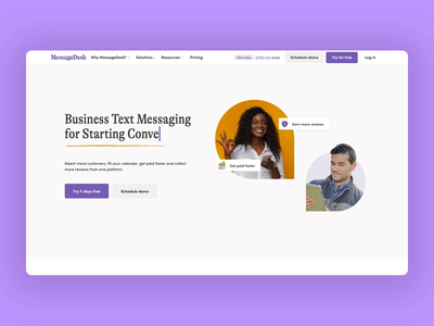 MessageDesk Hero and Website Design mobile animation landing page app hero interaction typography ux ui web design