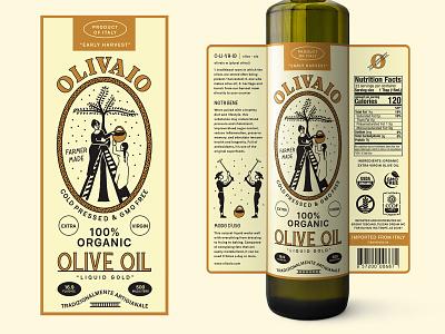 Olive Oil Bottle Label for Olivaio olive oil design label packaging print