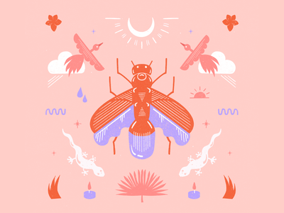 Magic sunset in the tropics 🔮🦎 pink symmetry surface pattern surface design minimalist pattern digital illustration editorial illustration procreate illustration