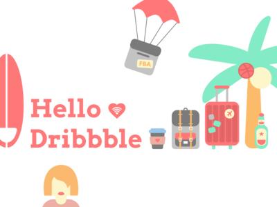 Hello Dribbble! travel illustrations icons