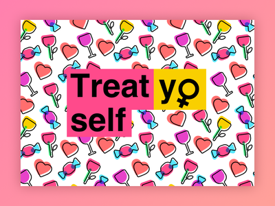 Treat yo self! poster icons pattern