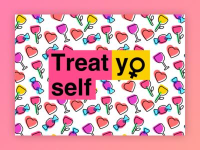 Treat yo self! poster icons pattern