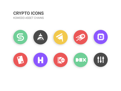 Crypto Icons - Komodo blockchain crypto illustrations ui icons