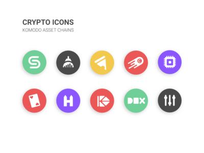 Crypto Icons - Komodo blockchain crypto illustrations ui icons