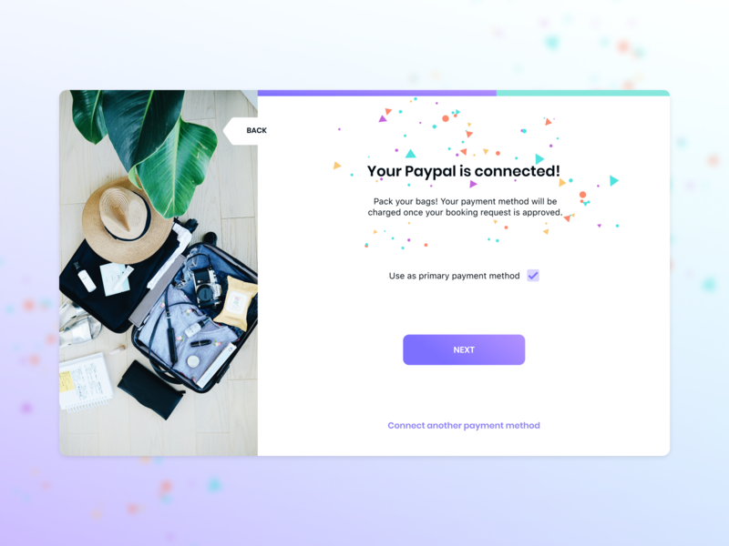 Payment method confirmation gradient onboarding flow ux payment payment method confirmation onboarding