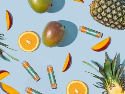 Crazy Rumors Lip Balm Rebrand marketing logo illustration brand beauty product branding flat lay photography