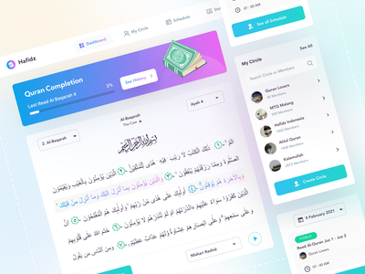 Hafidz - Quran Web App Collaboration moslem uxdesign application islamic quran website web platform app ux uiux ui