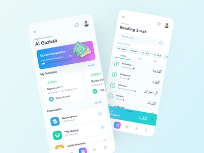 Hafidz - Quran Mobile App Collaboration clean alquran uiux ux ui islam quran platform application mobile app moslem