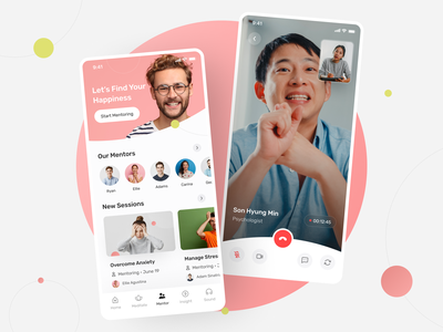 Mindty - Mental Health App mentoring ui design clean mental health mental meditation app