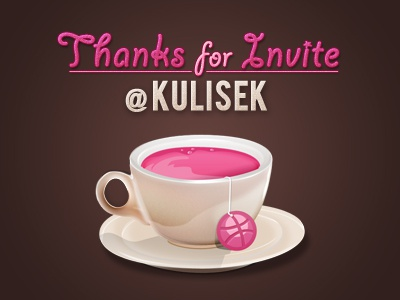 Dribbble coffee thanks thanks coffee cup dribbble docik photoshop vector illustration