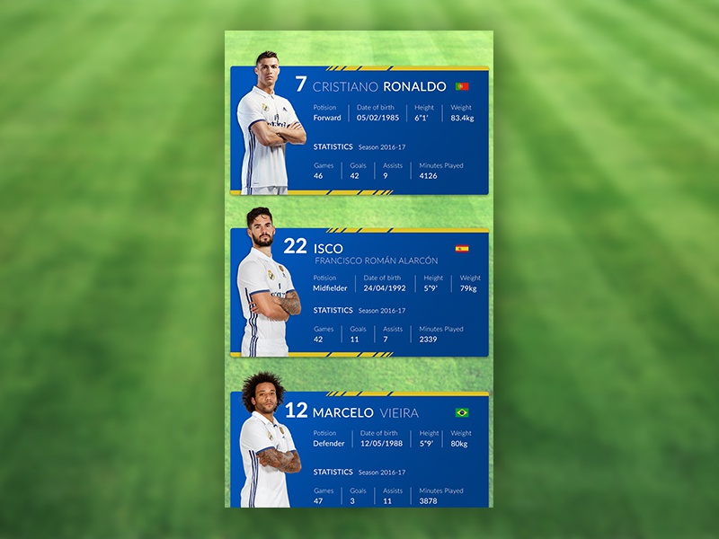 football Player info cards concept create fifa player realmadrid card football design ux ui