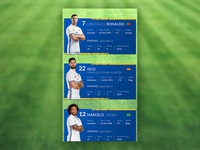 football Player info cards concept