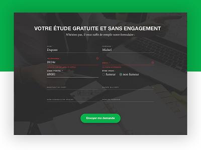 Insurance 🏢 green cards real estate credit insurance form website web design ui