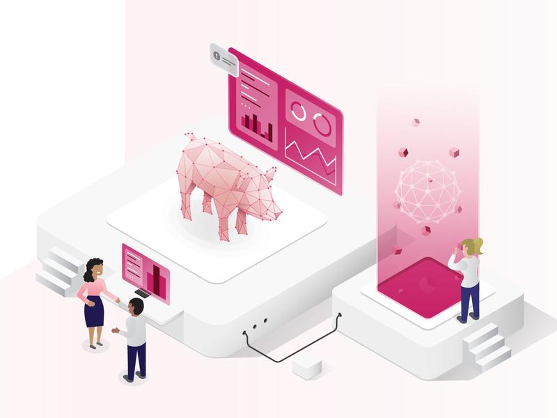 World of Pork pink web branding design dashboard landing page statistics hud scientific vector pork ui design isometric illustration website logo ux ui
