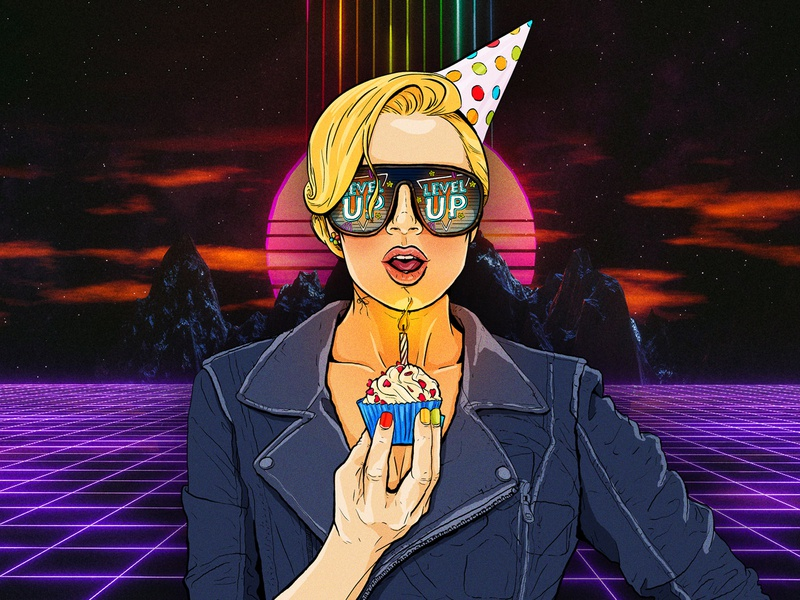 Happy Birthday cyberpunk pinup level up gaming comic art illustration character happy birthday woman candle cupcake cake party birthday