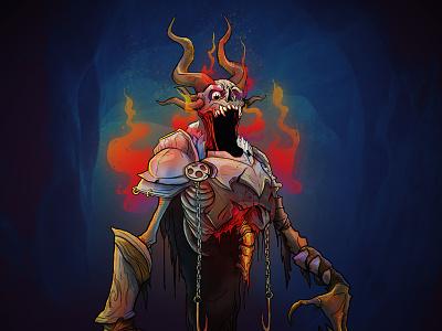Krayt character design illustration villain evil character very random encounters vre podcast boardgame ttrpg armor skull skeleton horns demon trading cards krayt