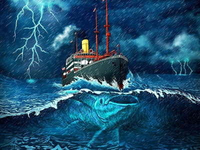 Call Of Cthulhu boardgame trading cards podcast remora fish wave sea storm ship illustration creature seas monster cthulhu call of cthulhu halouzs